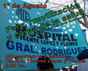 Los trabajadores del Hospital de Gral. Rodríguez en pie de lucha