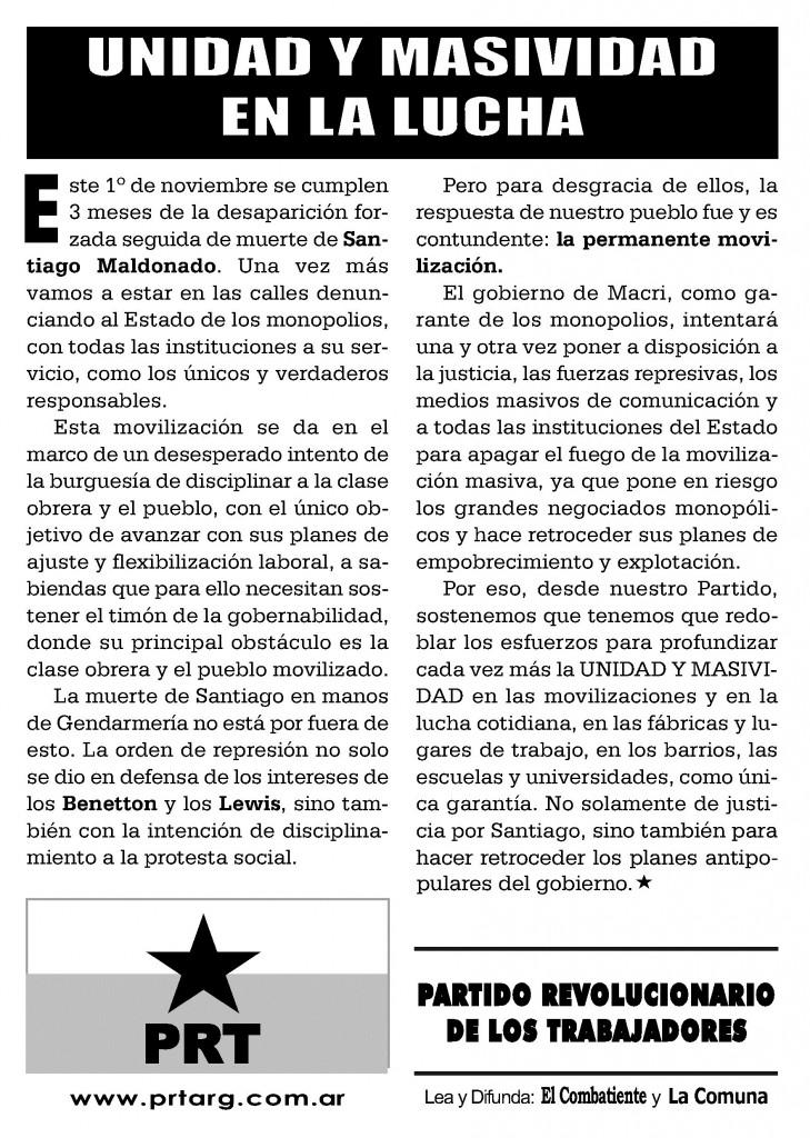 Movilización por Santiago Maldonado, miércoles 1º de Noviembre