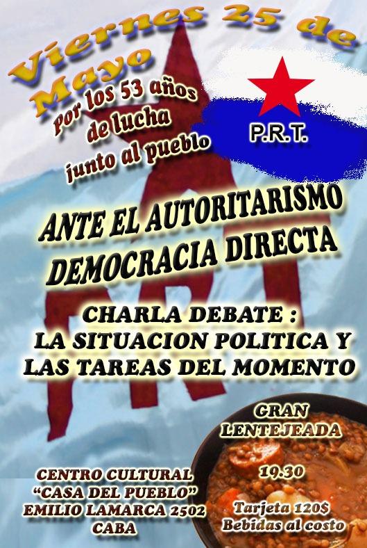 Encuentros y Actividades del PRT el 25 de Mayo