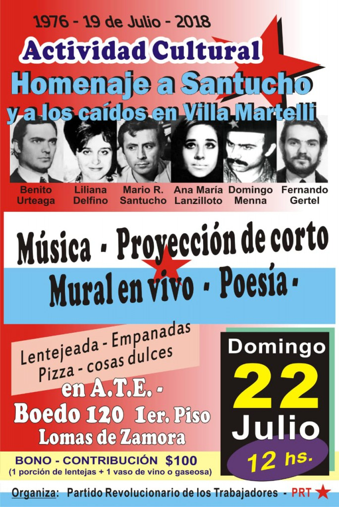 Acto del PRT en Lomas de Zamora