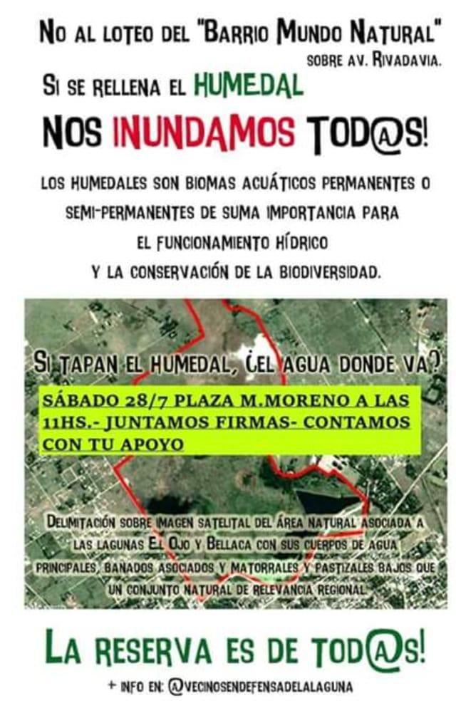 Comunicado de los vecinos autoconvocados en defensa de la laguna San Vicente