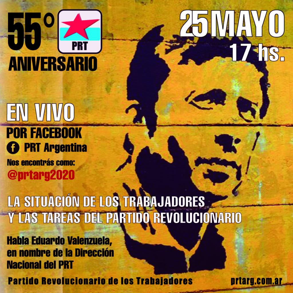 Vivo por Facebook el 25 de Mayo. Aniversario del PRT. Sumate!!!