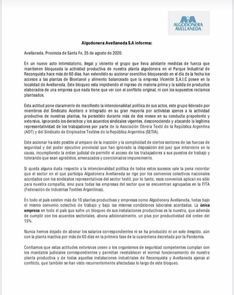 Las mentiras de Algodonera Avellaneda