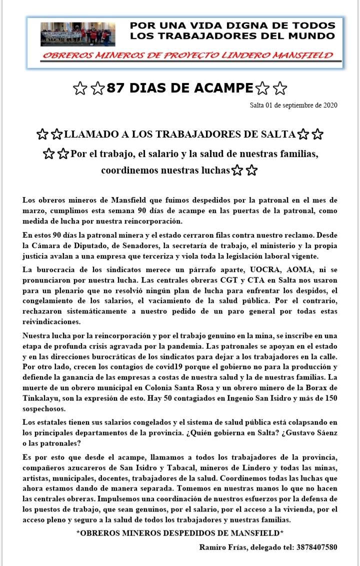 LLamado a los trabajadores de Salta – Mensaje de los mineros de MANSFIELD
