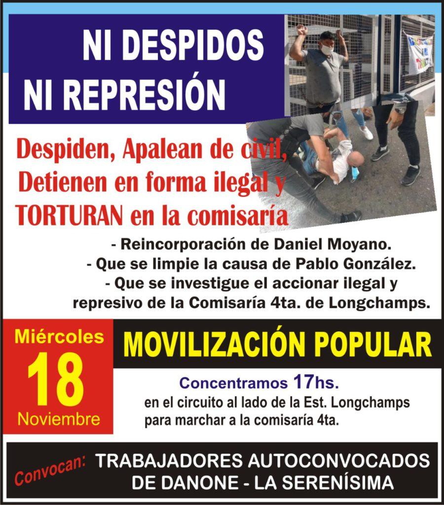 Trabajadores autoconvocados de Danone se movilizan